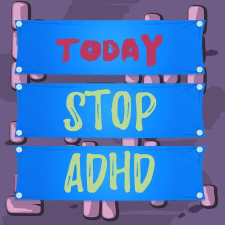 Word writing text Stop Adhd. Business photo showcasing Put at end the mental health disorder of children Hyperactive Wooden panel attached nail colorful background rectangle lumber plank wood