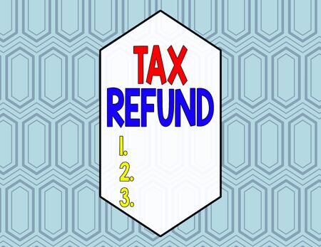 Conceptual hand writing showing Tax Refund. Concept meaning refund on tax when the tax liability is less than the tax paid Seamless Hexagon Tiles in Line Perspective Depth Deepness Stockfoto