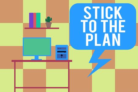 Handwriting text writing Stick To The Plan. Conceptual photo To adhere to some plan and not deviate from it Follow Desktop computer wooden table background shelf books flower pot ornaments