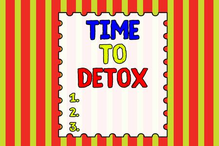 Conceptual hand writing showing Time To Detox. Concept meaning Moment for Diet Nutrition health Addiction treatment cleanse Abstract background multicolor intersecting striped pattern