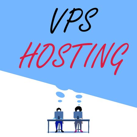 Text sign showing Vps Hosting. Business photo text mimics a dedicated server within a shared hosting environment Man with purple trousers sit on chair talk to fellow near computer table