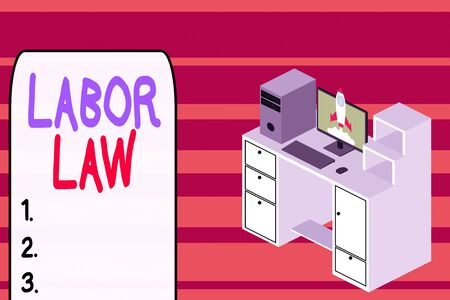 Text sign showing Labor Law. Business photo text rules relating to rights and responsibilities of workers Working desktop station drawers personal computer launching rocket clouds