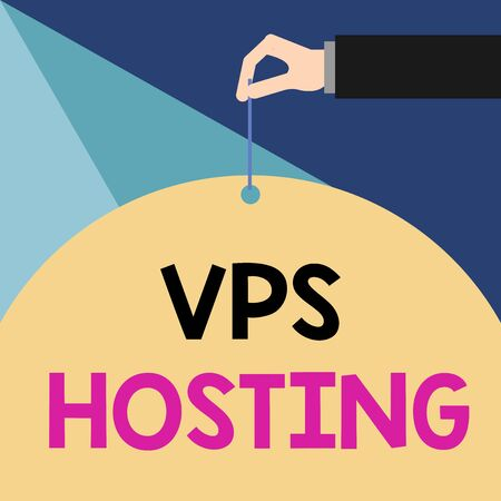Writing note showing Vps Hosting. Business concept for mimics a dedicated server within a shared hosting environment Male hand arm needle punching big blank balloon geometrical background