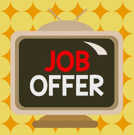 Conceptual hand writing showing Job Offer. Concept meaning Demonstrating or company that gives opurtunity for one employment Square rectangle unreal cartoon wood on the coloured wall