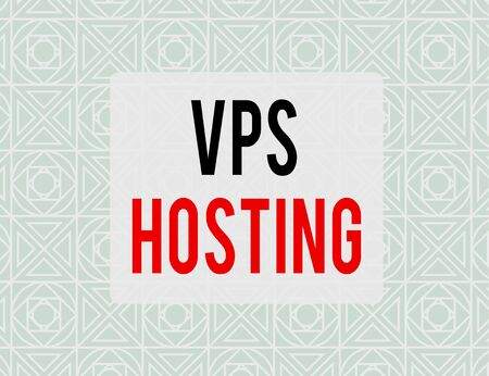 Writing note showing Vps Hosting. Business concept for mimics a dedicated server within a shared hosting environment Endless Geometric Outline Tiles Pattern in Line against Blue Background