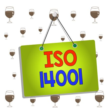 Text sign showing Iso 14001. Business photo showcasing a family of standards related to environmental analysisagement Colored memo reminder empty board blank space attach background rectangle