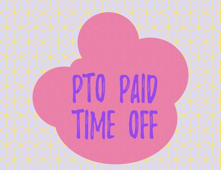 Word writing text Pto Paid Time Off. Business photo showcasing Employer grants compensation for demonstratingal holidays Seamless Yellow Blocks Cubes Blue Background Perspective Depth Deepness