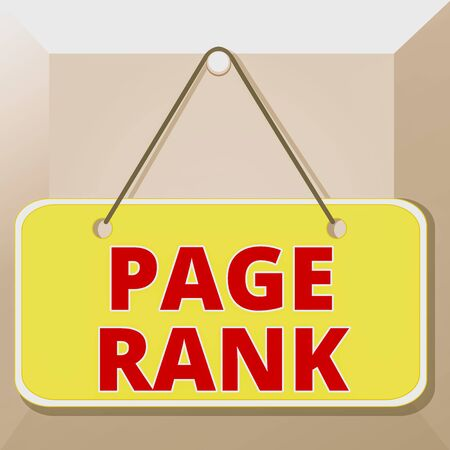 Conceptual hand writing showing Page Rank. Concept meaning a value assigned to a web page as a measure of its popularity Memo reminder empty board attached background rectangle