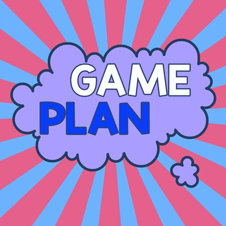Writing note showing Game Plan. Business concept for strategy worked out in advance in sport politics or business Asymmetrical uneven shaped pattern object multicolour design