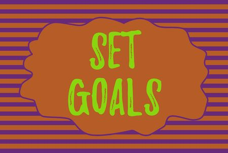 Text sign showing Set Goals. Business photo text Defining or achieving something in the future based on plan Seamless horizontal lines background drawing lines. Simple wallpaper banner 版權商用圖片