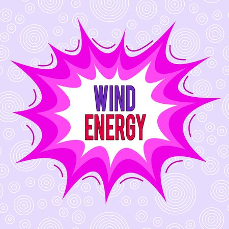 Conceptual hand writing showing Wind Energy. Concept meaning the process by which wind is used to generate electricity Asymmetrical uneven shaped pattern object multicolour design Imagens