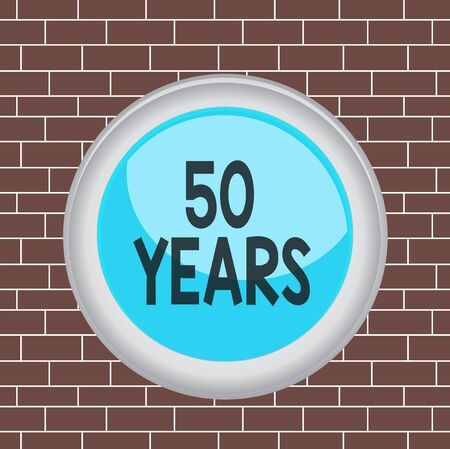 Text sign showing 50 Years. Business photo showcasing Honoring Ruby Jubilee Commemorating a special day Semicentennial Circle button colored sphere switch center background middle round shaped