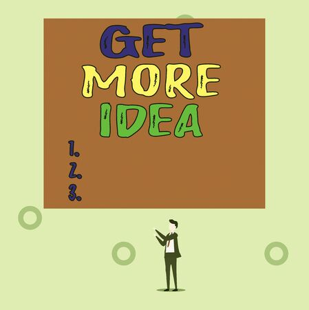 Word writing text Get More Idea. Business photo showcasing Random Input Mind Map Picture Mock up Surveys Visualization Isolated view young man standing pointing upwards two hands big rectangle