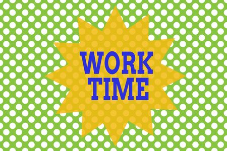 Word writing text Work Time. Business photo showcasing period starts when temporary workers are engaged at a worksite Seamless background pattern with dots. Simple wallpaper. Polka design