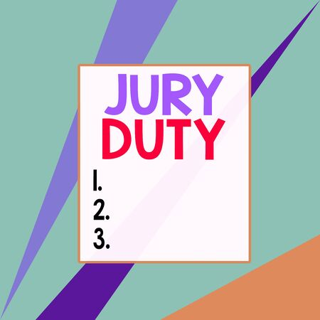 Conceptual hand writing showing Jury Duty. Concept meaning obligation or a period of acting as a member of a jury in court Square rectangle paper sheet load with full of pattern theme Stock fotó