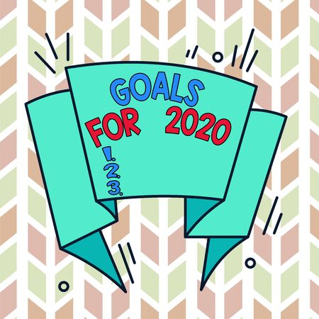 Text sign showing Goals For 2020. Business photo text The following things you want to have and achieve in 2020 Asymmetrical uneven shaped format pattern object outline multicolour design 版權商用圖片 - 135243987