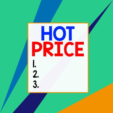 Conceptual hand writing showing Hot Price. Concept meaning Buyer or seller can obtain something for a product sold or buy Square rectangle paper sheet load with full of pattern theme