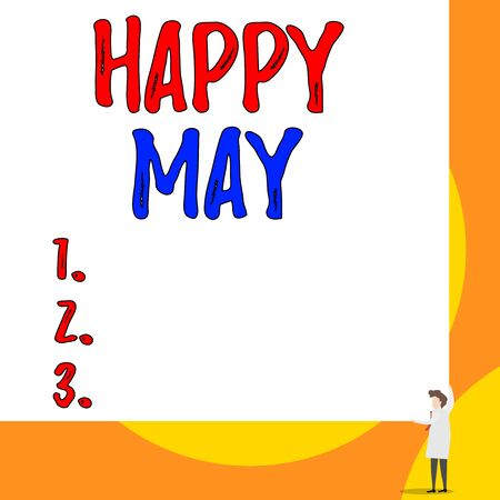 Conceptual hand writing showing Happy May. Concept meaning Happy new month Best wishes Fresh Start Celebrating Holiday Young woman holding two hands right corner big rectangle