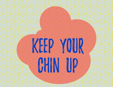 Word writing text Keep Your Chin Up. Business photo showcasing Remain cheerful in difficult circumstances High Spirit Seamless Yellow Blocks Cubes Blue Background Perspective Depth Deepness 版權商用圖片