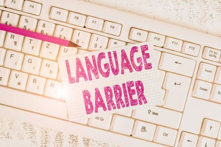 Word writing text Language Barrier. Business photo showcasing difficulties in communication Speaking different language White keyboard office supplies empty rectangle shaped paper reminder wood Stock Photo