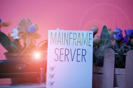 Writing note showing Mainframe Server. Business concept for designed for processing large amounts of information Flowers and writing equipments plus plain sheet above textured backdrop