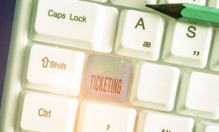 Text sign showing Mobile Ticketing. Business photo showcasing tickets arrive as a text message with a special barcode