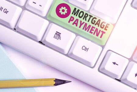 Word writing text Mortgage Payment. Business photo showcasing periodic amount paid to a holder for repayment of a loan