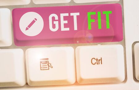 Text sign showing Get Fit. Business photo text right size or shape for someone or something keep your body healthy