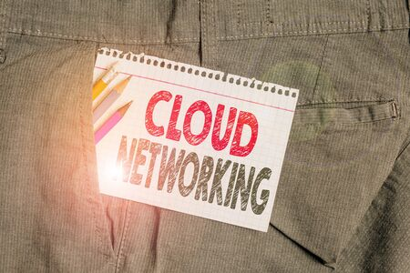 Conceptual hand writing showing Cloud Networking. Concept meaning sourcing and utilization of one or more network resources Writing equipment and white note paper inside pocket of trousers
