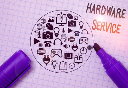 Writing note showing Hardware Service. Business concept for act of supporting and maintaining computer hardware