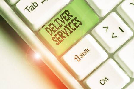 Writing note showing Deliver Services. Business concept for the act of providing a delivery services to customers