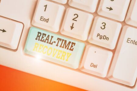 Writing note showing Real Time Recovery. Business concept for maximum time period in which recent data can recover