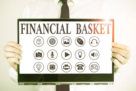 Handwriting text Financial Basket. Conceptual photo group of securities created for simultaneous buy or sell