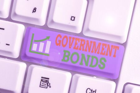 Word writing text Government Bonds. Business photo showcasing debt security issued by a government to support spending