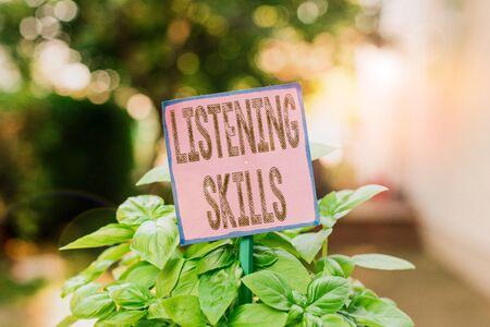 Writing note showing Listening Skills. Business concept for ability to understand information provided by the speaker Plain paper attached to stick and placed in the grassy land