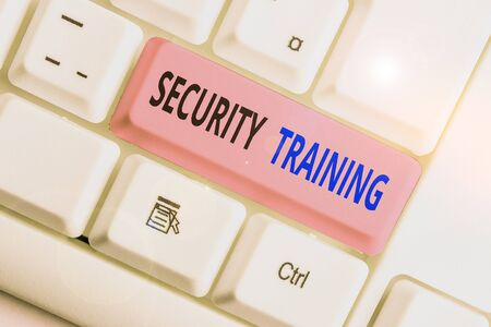 Writing note showing Security Training. Business concept for providing security awareness training for end users