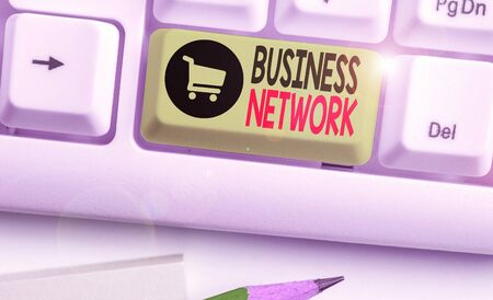 Conceptual hand writing showing Business Network. Concept meaning Interfirm cooperation that allows companies to collaborate