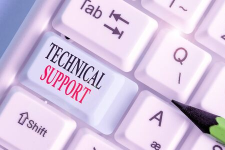 Writing note showing Technical Support. Business concept for service provided by a hardware or software company