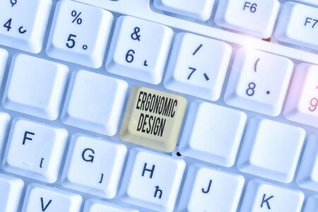 Text sign showing Ergonomic Design. Business photo text fitting or designing a workplace to the user s is needs Stock fotó