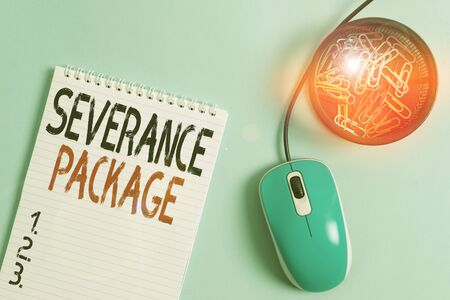 Word writing text Severance Package. Business photo showcasing pay and benefits employees receive when leaving employment Blank notebook and clips with computer mouse placed above pastel backdrop Stock fotó