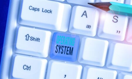 Text sign showing Operating System. Business photo showcasing software that supports a computer s is basic functions