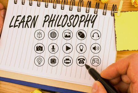 Handwriting text writing Learn Philosophy. Conceptual photo learn to develop sound methods of research and analysis Stock Photo