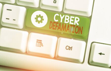 Text sign showing Cyber Defamation. Business photo showcasing slander conducted via digital media usually by Internet
