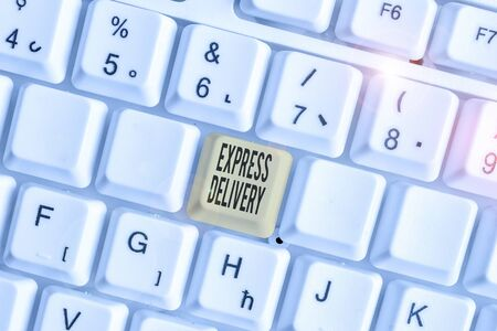 Text sign showing Express Delivery. Business photo text expediting the distributiuon of goods and services