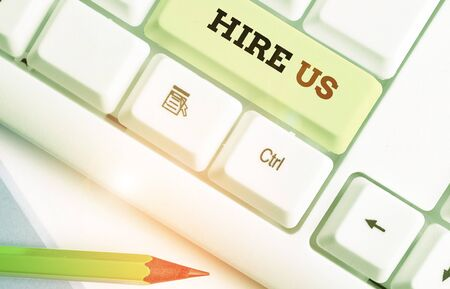 Conceptual hand writing showing Hire Us. Concept meaning Used by huanalysis resources indicate employee that he is got job