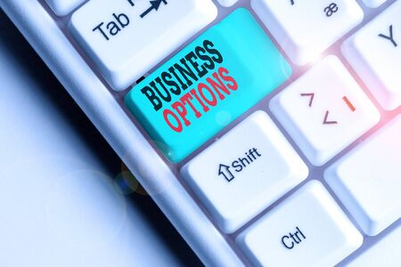 Text sign showing Business Options. Business photo text one thing that can be chosen from a set of possibilities