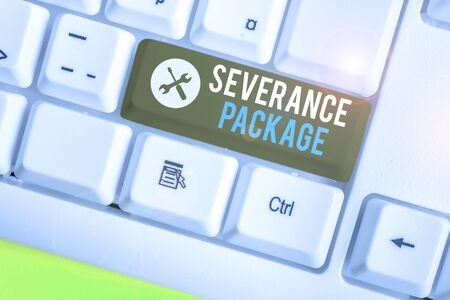Writing note showing Severance Package. Business concept for pay and benefits employees receive when leaving employment