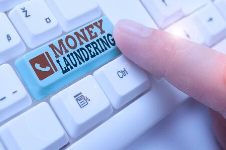 Text sign showing Money Laundering. Business photo showcasing concealment of the origins of illegally obtained money