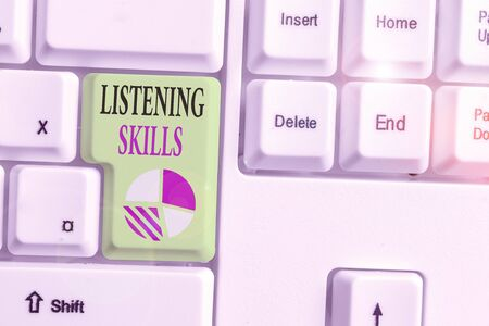 Text sign showing Listening Skills. Business photo showcasing ability to understand information provided by the speaker