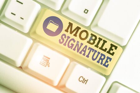 Conceptual hand writing showing Mobile Signature. Concept meaning digital signature generated either on a mobile phone